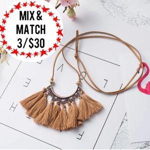 🔹️Brown Tassel Necklace Faux Leather Adjus